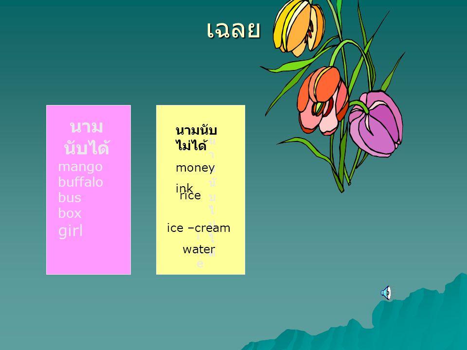 เฉลย นาม นับได้ mango buffalo bus box girl rice น า ม นั บ ไ ม่ ไ ด้ money ink iceice ice –cream water