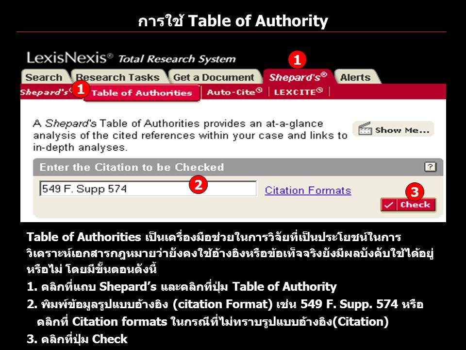 การใช้ Table of Authority Table of Authorities เป็นเครื่องมือช่วยในการวิจัยที่เป็นประโยชน์ในการ วิเคราะห์เอกสารกฎหมายว่ายังคงใช้อ้างอิงหรือข้อเท็จจริง