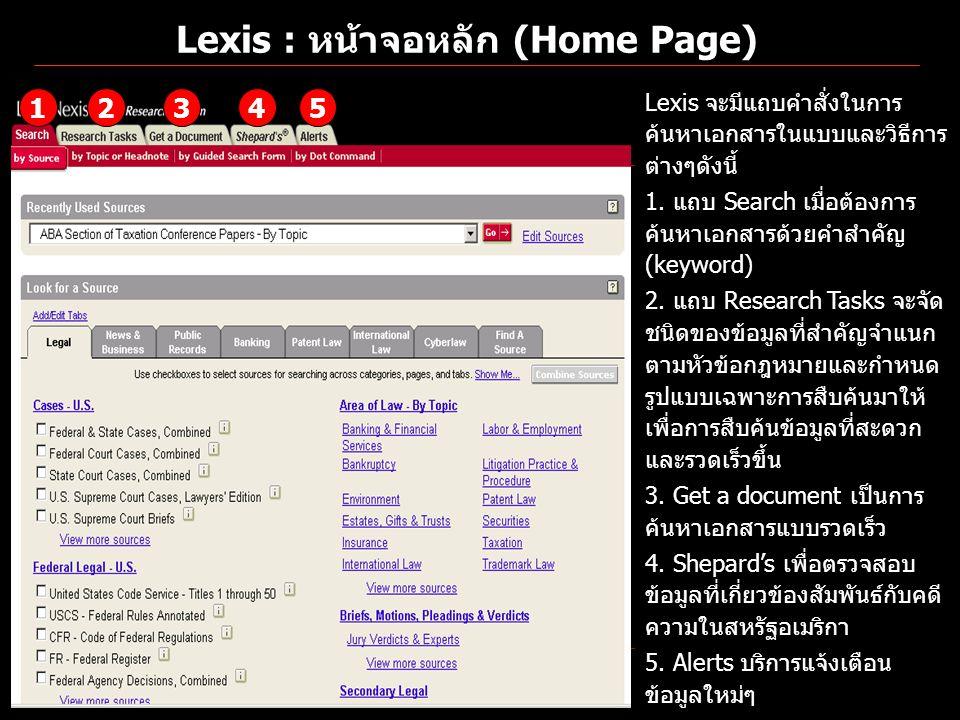 Lexis : หน้าจอหลัก (Home Page) Lexis จะมีแถบคำสั่งในการ ค้นหาเอกสารในแบบและวิธีการ ต่างๆดังนี้ 1. แถบ Search เมื่อต้องการ ค้นหาเอกสารด้วยคำสำคัญ (keyw