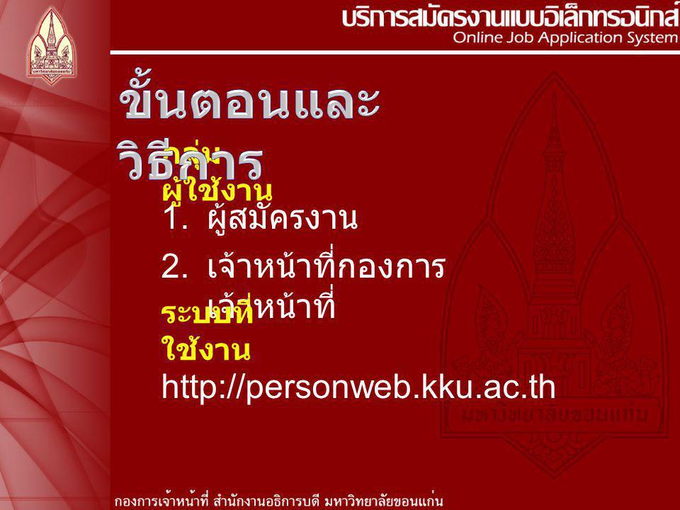 1. ผู้สมัครงาน 2. เจ้าหน้าที่กองการ เจ้าหน้าที่ กลุ่ม ผู้ใช้งาน ระบบที่ ใช้งาน http://personweb.kku.ac.th
