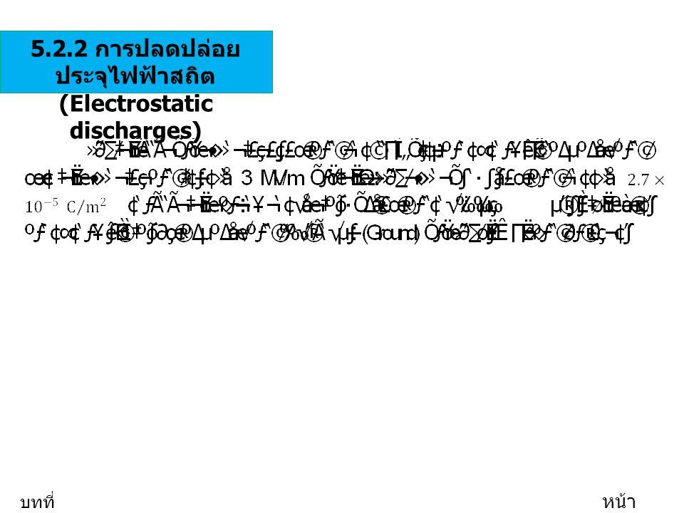 5.2.2 การปลดปล่อย ประจุไฟฟ้าสถิต (Electrostatic discharges) บทที่ 5 หน้า 20/35