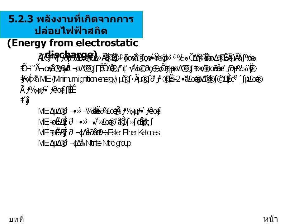5.2.3 พลังงานที่เกิดจากการ ปล่อยไฟฟ้าสถิต (Energy from electrostatic discharge) บทที่ 5 หน้า 21/35