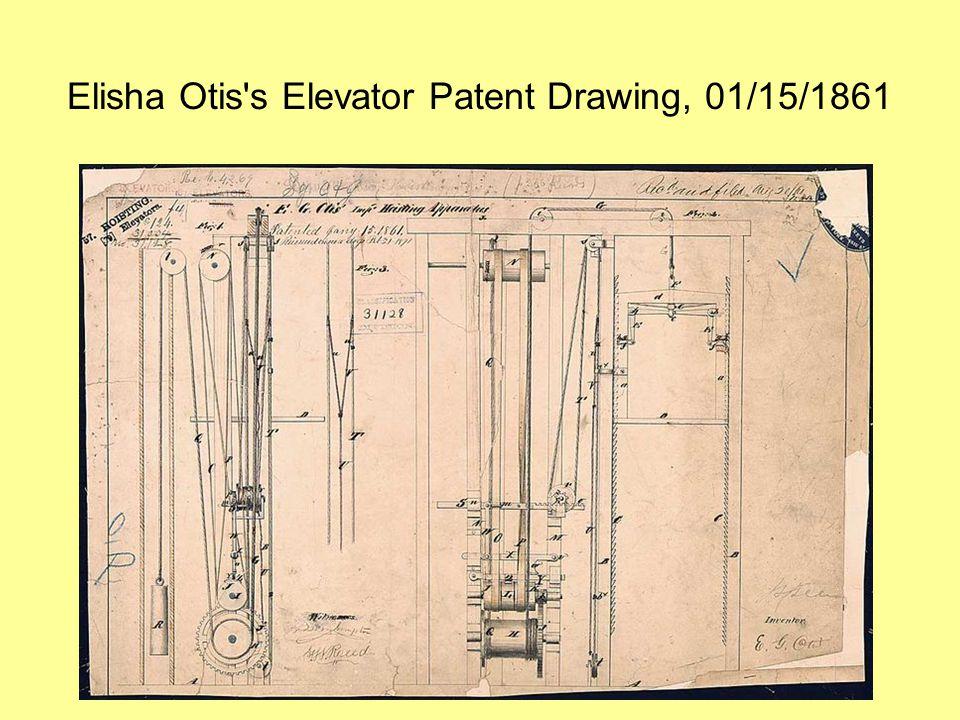 Elisha Otis's Elevator Patent Drawing, 01/15/1861