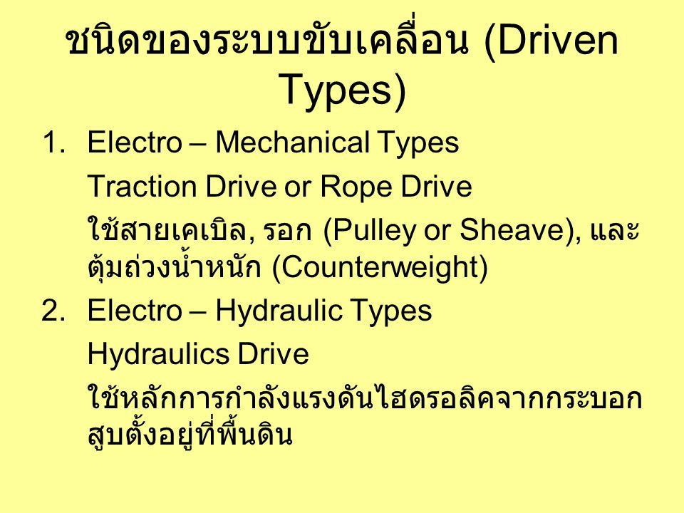 ชนิดของระบบขับเคลื่อน (Driven Types) 1.Electro – Mechanical Types Traction Drive or Rope Drive ใช้สายเคเบิล, รอก (Pulley or Sheave), และ ตุ้มถ่วงน้ำหนัก (Counterweight) 2.Electro – Hydraulic Types Hydraulics Drive ใช้หลักการกำลังแรงดันไฮดรอลิคจากกระบอก สูบตั้งอยู่ที่พื้นดิน