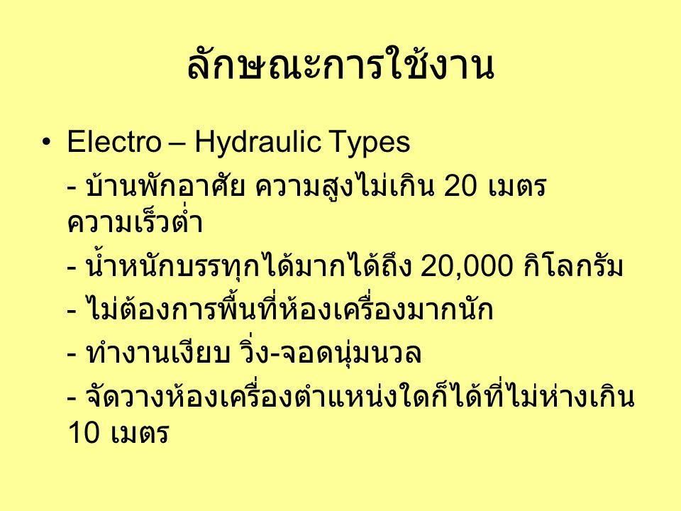 ลักษณะการใช้งาน •Electro – Hydraulic Types - บ้านพักอาศัย ความสูงไม่เกิน 20 เมตร ความเร็วต่ำ - น้ำหนักบรรทุกได้มากได้ถึง 20,000 กิโลกรัม - ไม่ต้องการพื้นที่ห้องเครื่องมากนัก - ทำงานเงียบ วิ่ง - จอดนุ่มนวล - จัดวางห้องเครื่องตำแหน่งใดก็ได้ที่ไม่ห่างเกิน 10 เมตร