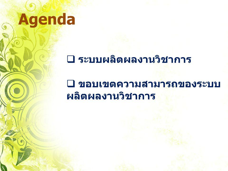 Agenda  ระบบผลิตผลงานวิชาการ  ขอบเขตความสามารถของระบบ ผลิตผลงานวิชาการ