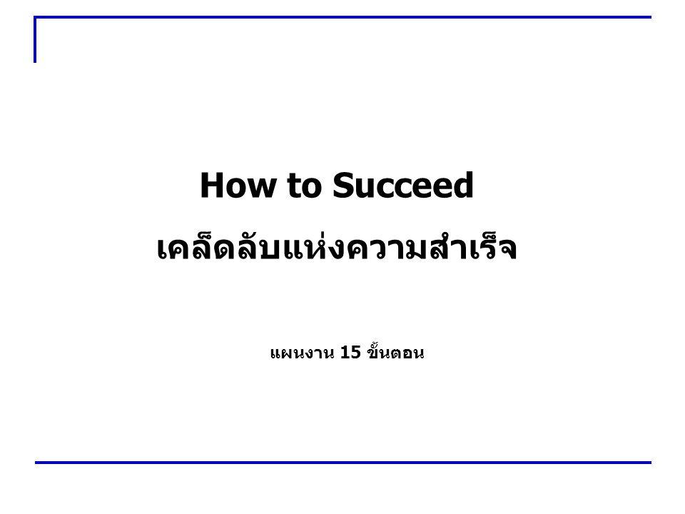 12 How to Succeed ถ้ามีบางคน ที่ไม่ชอบท่าน เป็นเรื่องของเขา แต่ พยายาม ทำงานให้ดีที่สุดเสมอ จงอย่าคิดว่า คนอื่นเกลียดท่าน 1 2 3 4 5 6 7 8 9 10 11 12 13 14 15
