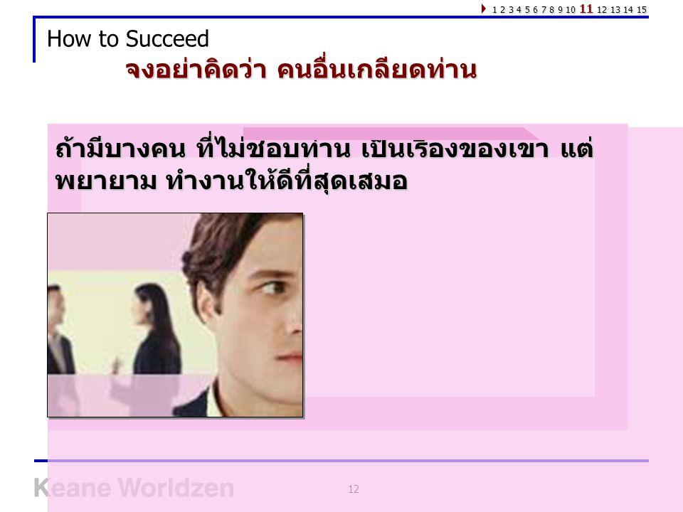 12 How to Succeed ถ้ามีบางคน ที่ไม่ชอบท่าน เป็นเรื่องของเขา แต่ พยายาม ทำงานให้ดีที่สุดเสมอ จงอย่าคิดว่า คนอื่นเกลียดท่าน 1 2 3 4 5 6 7 8 9 10 11 12 1