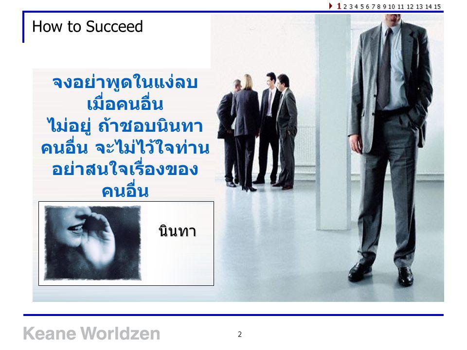 2 How to Succeed จงอย่าพูดในแง่ลบ เมื่อคนอื่น ไม่อยู่ ถ้าชอบนินทา คนอื่น จะไม่ไว้ใจท่าน อย่าสนใจเรื่องของ คนอื่น 1 2 3 4 5 6 7 8 9 10 11 12 13 14 15 น