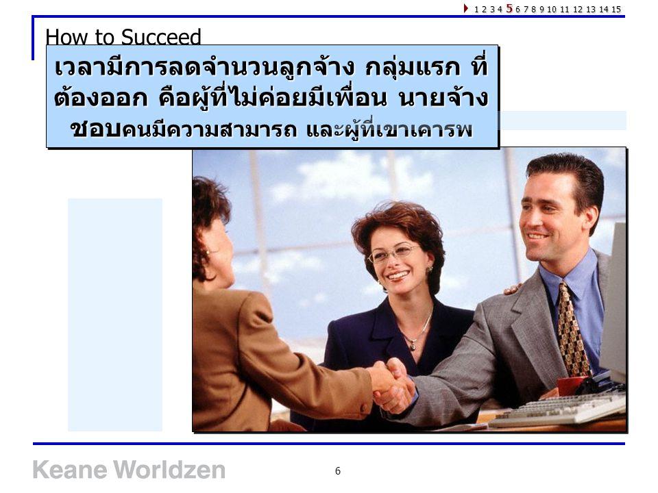 6 How to Succeed เวลามีการลดจำนวนลูกจ้าง กลุ่มแรก ที่ ต้องออก คือผู้ที่ไม่ค่อยมีเพื่อน นายจ้าง ชอบ คนมีความสามารถ และผู้ที่เขาเคารพ 1 2 3 4 5 6 7 8 9