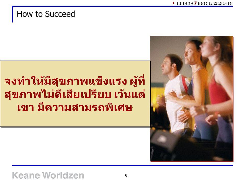 8 How to Succeed จงทำให้มีสุขภาพแข็งแรง ผู้ที่ สุขภาพไม่ดีเสียเปรียบ เว้นแต่ เขา มีความสามรถพิเศษ 1 2 3 4 5 6 7 8 9 10 11 12 13 14 15