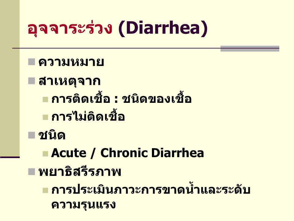 อุจจาระร่วง (Diarrhea)  ความหมาย  สาเหตุจาก  การติดเชื้อ : ชนิดของเชื้อ  การไม่ติดเชื้อ  ชนิด  Acute / Chronic Diarrhea  พยาธิสรีรภาพ  การประเ