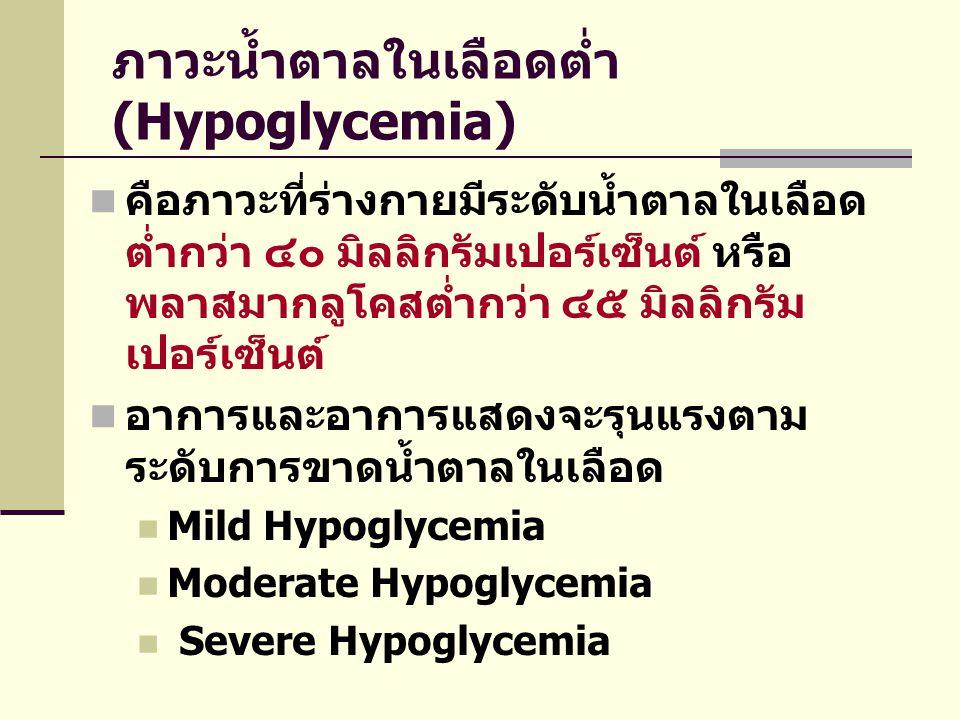 ภาวะน้ำตาลในเลือดต่ำ (Hypoglycemia)  คือภาวะที่ร่างกายมีระดับน้ำตาลในเลือด ต่ำกว่า ๔๐ มิลลิกรัมเปอร์เซ็นต์ หรือ พลาสมากลูโคสต่ำกว่า ๔๕ มิลลิกรัม เปอร