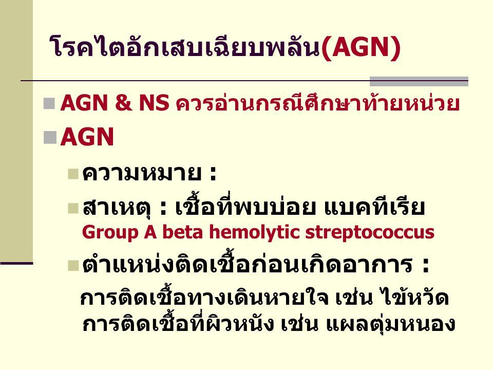 โรคไตอักเสบเฉียบพลัน(AGN)  AGN & NS ควรอ่านกรณีศึกษาท้ายหน่วย  AGN  ความหมาย :  สาเหตุ : เชื้อที่พบบ่อย แบคทีเรีย Group A beta hemolytic streptoco