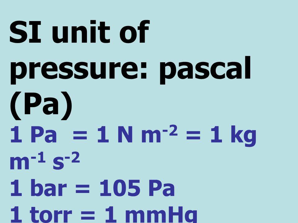 SI unit of pressure: pascal (Pa) 1 Pa = 1 N m -2 = 1 kg m -1 s -2 1 bar = 105 Pa 1 torr = 1 mmHg 1 atm = 101,325 Pa = 760 mmHg = 760 torr