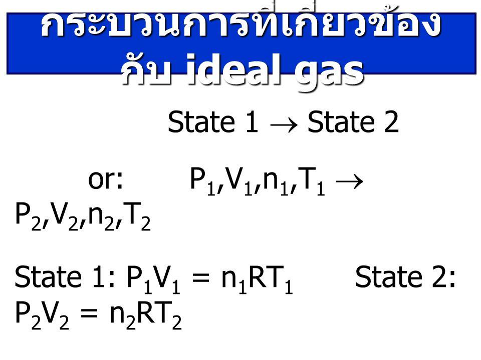 State 1  State 2 or: P 1,V 1,n 1,T 1  P 2,V 2,n 2,T 2 State 1: P 1 V 1 = n 1 RT 1 State 2: P 2 V 2 = n 2 RT 2 กระบวนการที่เกี่ยวข้อง กับ ideal gas