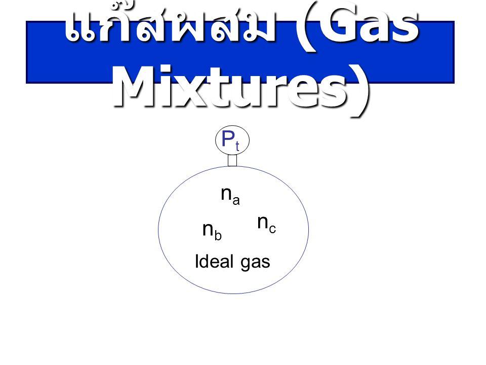 P nana nbnb ncnc PtPt Ideal gas แก๊สผสม (Gas Mixtures)