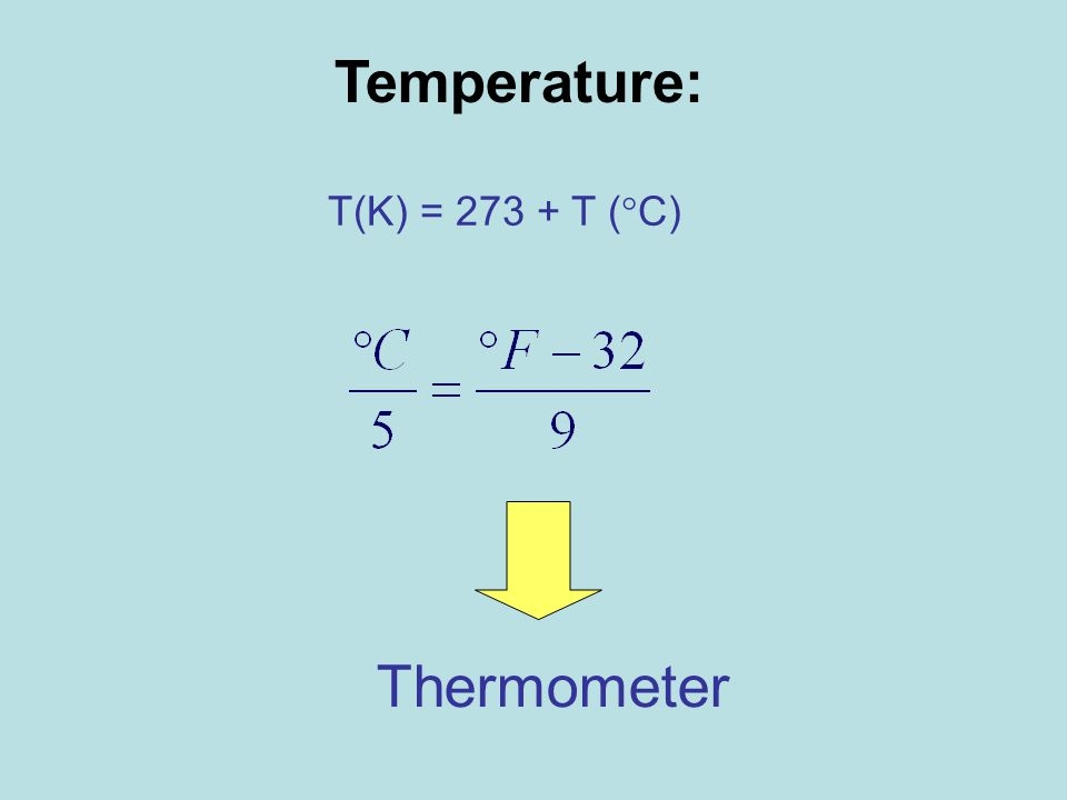 T(K) = 273 + T (  C) Thermometer Temperature: