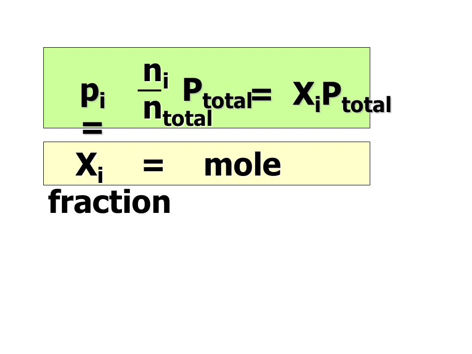 X i = mole fraction X i = mole fraction n i n total n total pi=pi=pi=pi= P total = X i P total