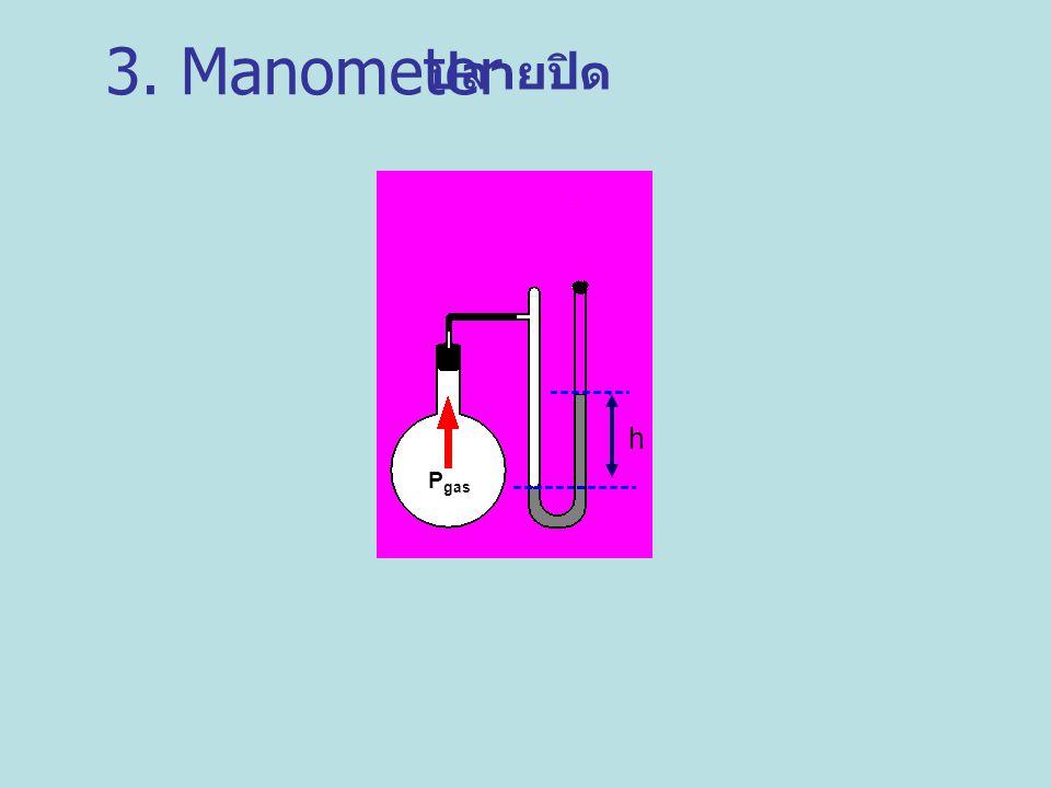 P gas h ปลายปิด 3. Manometer
