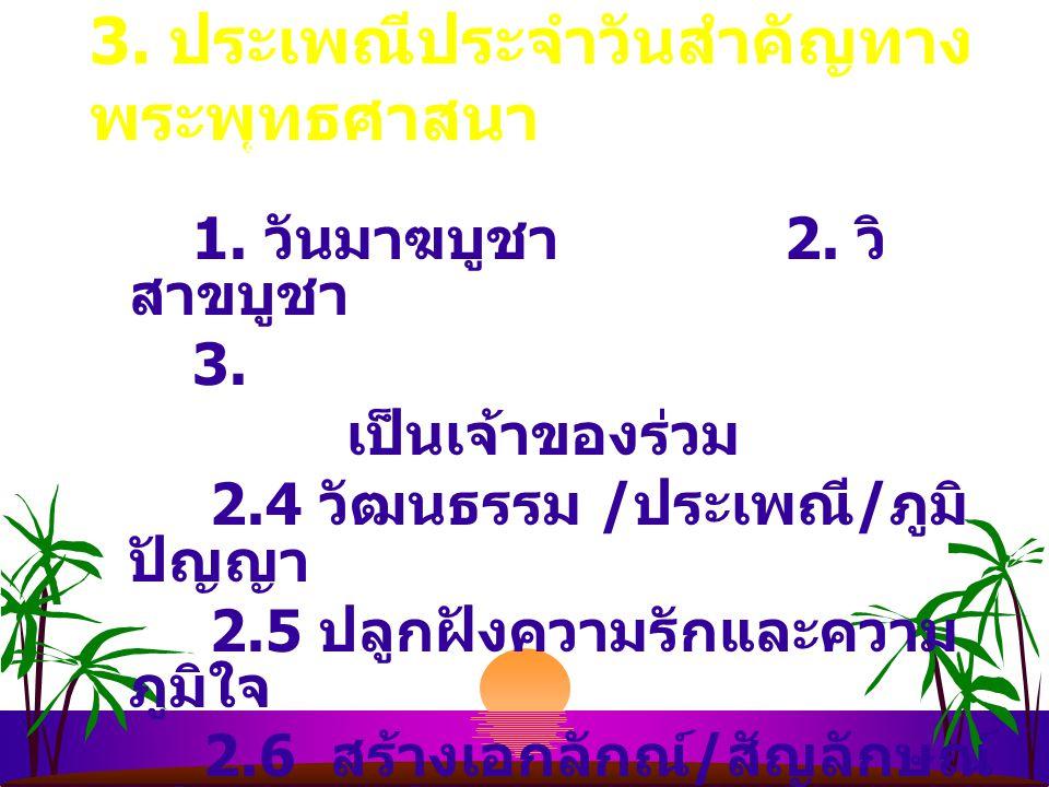 3.ประเพณีประจำวันสำคัญทาง พระพุทธศาสนา 1. วันมาฆบูชา 1.
