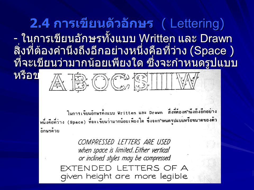 2.4 การเขียนตัวอักษร ( Lettering) - ในการเขียนอักษรทั้งแบบ Written และ Drawn สิ่งที่ต้องคำนึงถึงอีกอย่างหนึ่งคือที่ว่าง (Space ) ที่จะเขียนว่ามากน้อยเ