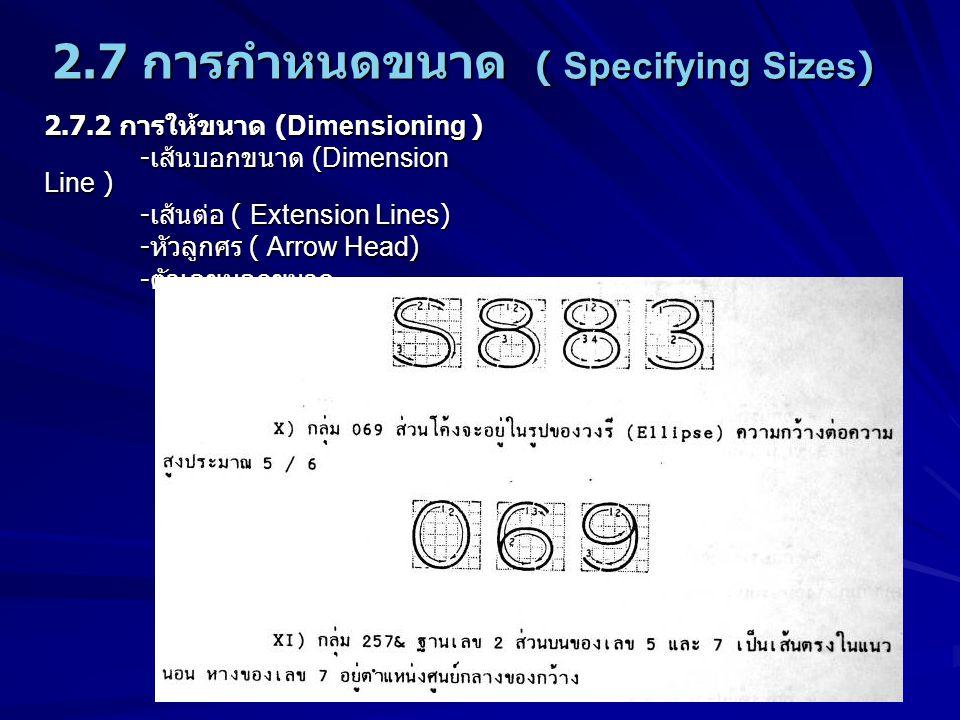 2.7 การกำหนดขนาด ( Specifying Sizes) 2.7.2 การให้ขนาด (Dimensioning ) - เส้นบอกขนาด (Dimension Line ) - เส้นต่อ ( Extension Lines) - หัวลูกศร ( Arrow