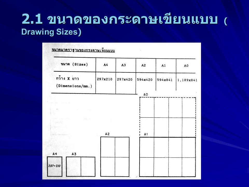 2.1 ขนาดของกระดาษเขียนแบบ ( Drawing Sizes)