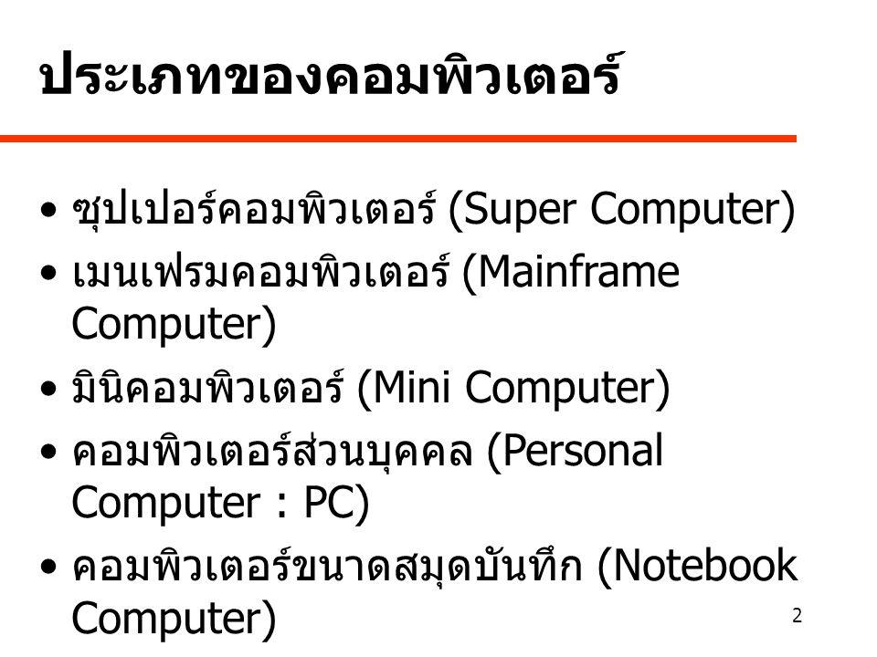 2 • ซุปเปอร์คอมพิวเตอร์ (Super Computer) • เมนเฟรมคอมพิวเตอร์ (Mainframe Computer) • มินิคอมพิวเตอร์ (Mini Computer) • คอมพิวเตอร์ส่วนบุคคล (Personal Computer : PC) • คอมพิวเตอร์ขนาดสมุดบันทึก (Notebook Computer) • คอมพิวเตอร์พีดีเอ (Personal Digital Assistant : PDA) • เครือข่ายคอมพิวเตอร์ (Computer Network) ประเภทของคอมพิวเตอร์