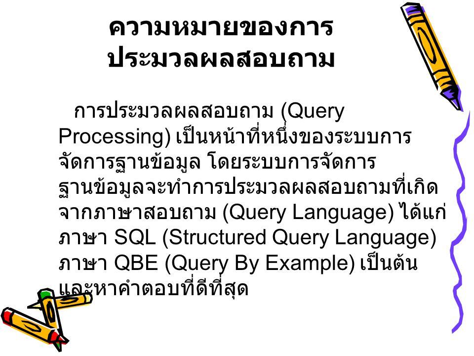 โครงสร้างของตัว ประมวลผลสอบถาม • ส่วนตรวจสอบภาษา (Parser) ทำหน้าที่ตรวจเช็คกฏและหลักเกณฑ์ (Syntax) ของคำสั่งสอบถามข้อมูลที่กำหนดไว้ในระบบ ฐานข้อมูล • ออฟติไมเซอร์ (Optimizer ) ทำหน้าที่ในการกลยุทธ์หรือวิธีการที่เหมาะสม เพื่อให้การเข้าถึงข้อมูลประหยัดเวลาที่สุด เมื่อ คำสั่งในภาษาสอบถามผ่านตัวตรวจสอบภาษา