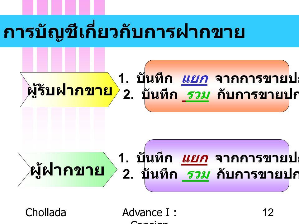 CholladaAdvance I : Consign 12 การบัญชีเกี่ยวกับการฝากขาย ผู้รับฝากขาย ผู้ฝากขาย 1. บันทึก แยก จากการขายปกติ 2. บันทึก รวม กับการขายปกติ 1. บันทึก แยก