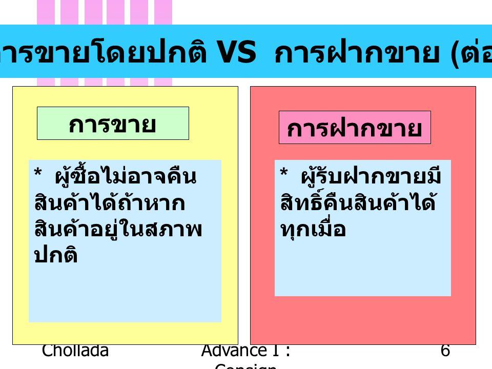 CholladaAdvance I : Consign 6 การขายโดยปกติ VS การฝากขาย ( ต่อ ) การขาย การฝากขาย * ผู้ซื้อไม่อาจคืน สินค้าได้ถ้าหาก สินค้าอยู่ในสภาพ ปกติ * ผู้รับฝาก