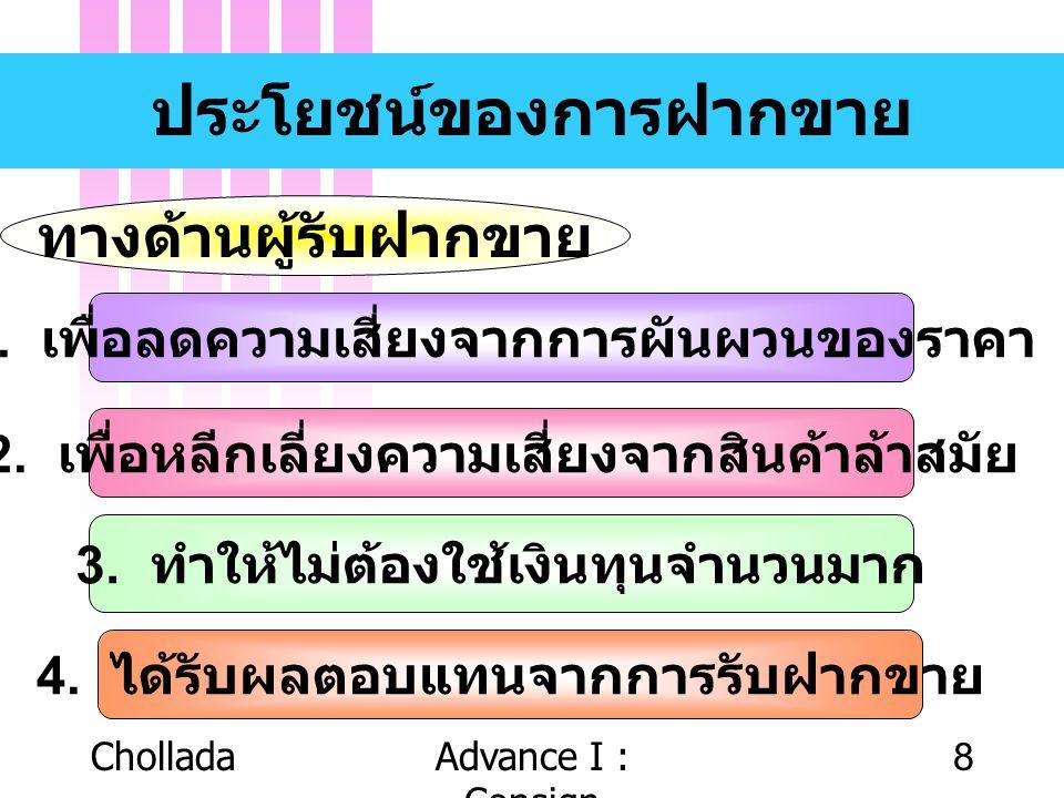 CholladaAdvance I : Consign 8 ประโยชน์ของการฝากขาย ทางด้านผู้รับฝากขาย 1. เพื่อลดความเสี่ยงจากการผันผวนของราคา 2. เพื่อหลีกเลี่ยงความเสี่ยงจากสินค้าล้