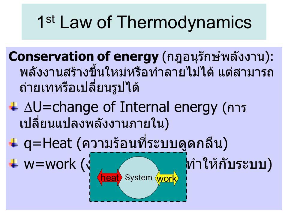 1 st Law of Thermodynamics Conservation of energy ( กฎอนุรักษ์พลังงาน ): พลังงานสร้างขึ้นใหม่หรือทำลายไม่ได้ แต่สามารถ ถ่ายเทหรือเปลี่ยนรูปได้  U=cha