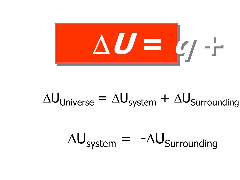  U = q + w U U = q + w  U Universe =  U system +  U Surrounding = 0  U system = -  U Surrounding