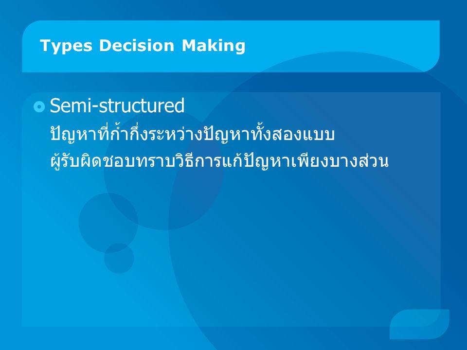 Types Decision Making  Semi-structured ปัญหาที่ก้ำกึ่งระหว่างปัญหาทั้งสองแบบ ผู้รับผิดชอบทราบวิธีการแก้ปัญหาเพียงบางส่วน