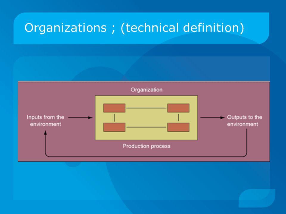 Organizations ; (technical definition)