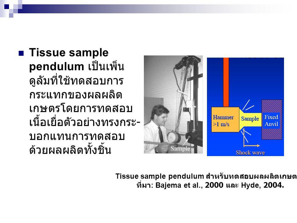  Tissue sample pendulum เป็นเพ็น ดูลัมที่ใช้ทดสอบการ กระแทกของผลผลิต เกษตรโดยการทดสอบ เนื้อเยื่อตัวอย่างทรงกระ - บอกแทนการทดสอบ ด้วยผลผลิตทั้งชิ้น Ti