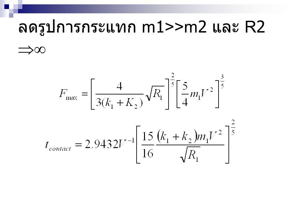 ลดรูปการกระแทก m1>>m2 และ R2 