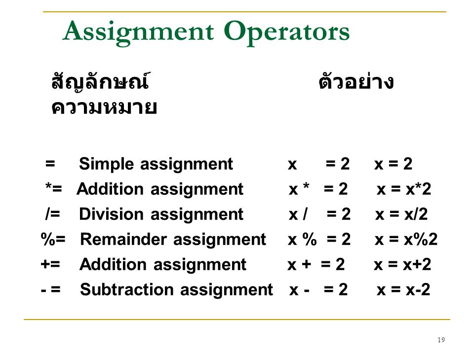 19 Assignment Operators สัญลักษณ์ ตัวอย่าง ความหมาย = Simple assignment x = 2 x = 2 *= Addition assignment x * = 2 x = x*2 /= Division assignment x /