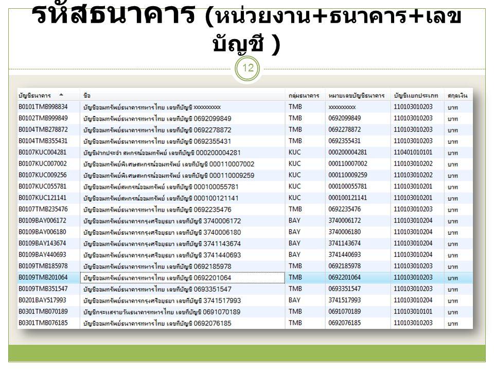 รหัสธนาคาร ( หน่วยงาน + ธนาคาร + เลข บัญชี ) 12