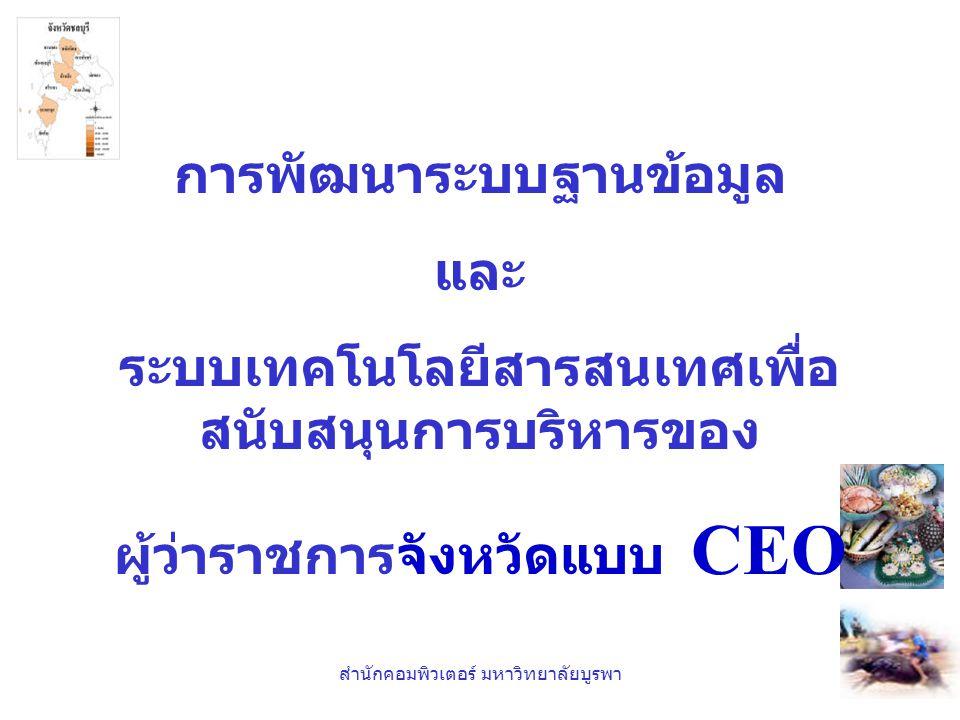 การพัฒนาระบบฐานข้อมูล และ ระบบเทคโนโลยีสารสนเทศเพื่อ สนับสนุนการบริหารของ ผู้ว่าราชการจังหวัดแบบ CEO