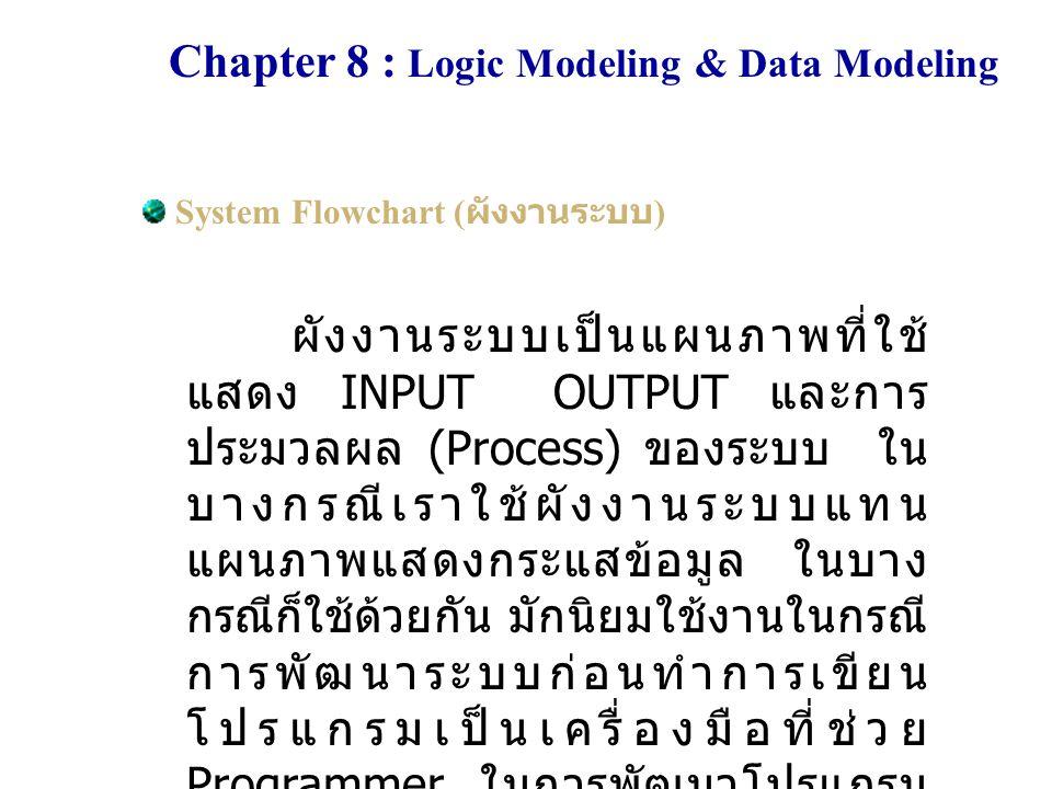 Chapter 8 : Logic Modeling & Data Modeling System Flowchart ( ผังงานระบบ ) ใช้แสดงกระแสการทำงานใน ระบบ และ ความสัมพันธ์ระหว่าง Input และ Output มุ่งให้เห็นงานและลำดับการ ทำงาน ไม่จำเป็นต้องระบุการตัดสินใจ เคยได้รับความนิยมมาก