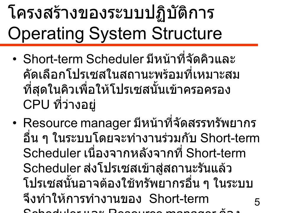 6 •Long-term scheduler มีหน้าที่จัดการและ ควบคุมโปรเซสต่าง ๆ ทั้งหมดในระบบ เช่นการ สร้างระบบและยุติโปรเซสเมื่อโปรเซสทำงาน เสร็จสิ้นลง •Command interpreter หรือ Shell เป็นส่วนที่อยู่ ใกล้ชิดกับผู้ใช้มากที่สุดเนื่องจากเป็นรูปแบบที่ แสดงออกมาที่หน้าจอเพื่อติดต่อกับผู้ใช้และ โปรแกรมของผู้ใช้ เช่น – กรณีที่เป็นระบบ DOS เป็นการแสดงหน้าจอที่มี เครื่องหมาย C:> (Prompt) ออกมาทางจอภาพ เพื่อให้ผู้ใช้สามารถเริ่มทำงานได้ – กรณีที่เป็นระบบ Windows เป็นการแสดงหน้าจอ Desktop ออกมาทางจอภาพเพื่อให้ผู้ใช้สามารถเริ่ม ทำงานได้ โครงสร้างของระบบปฏิบัติการ Operating System Structure
