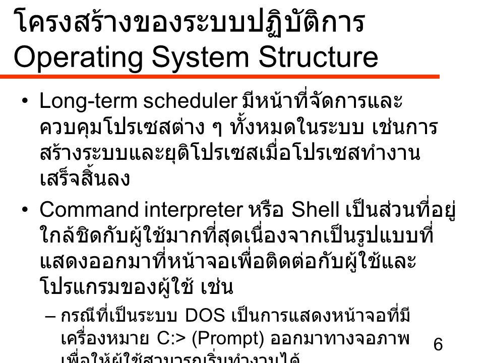 6 •Long-term scheduler มีหน้าที่จัดการและ ควบคุมโปรเซสต่าง ๆ ทั้งหมดในระบบ เช่นการ สร้างระบบและยุติโปรเซสเมื่อโปรเซสทำงาน เสร็จสิ้นลง •Command interpr