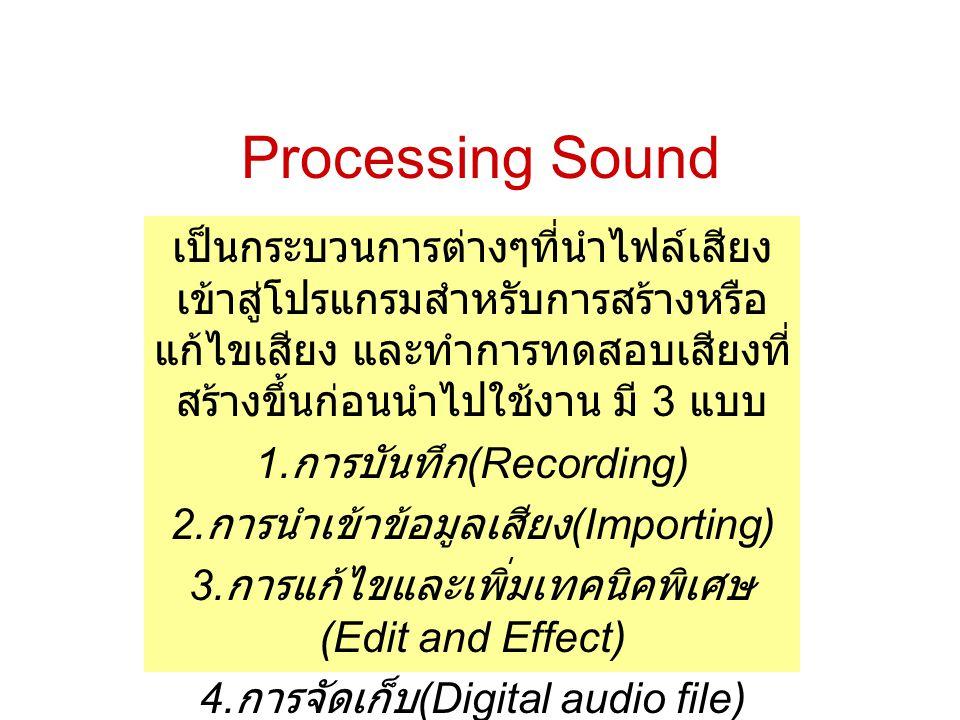 Processing Sound เป็นกระบวนการต่างๆที่นำไฟล์เสียง เข้าสู่โปรแกรมสำหรับการสร้างหรือ แก้ไขเสียง และทำการทดสอบเสียงที่ สร้างขึ้นก่อนนำไปใช้งาน มี 3 แบบ 1