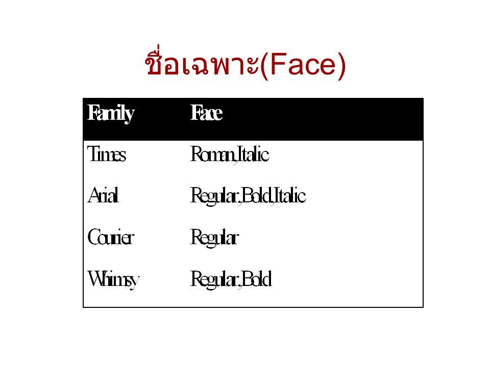 ชื่อเฉพาะ (Face)