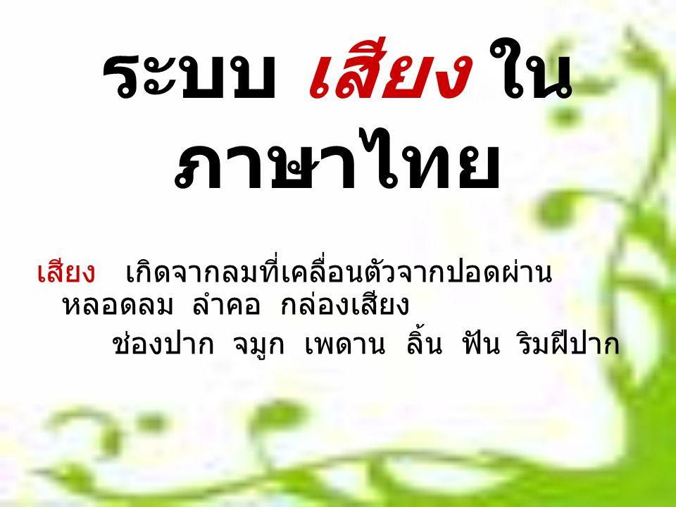 ระบบ เสียง ใน ภาษาไทย เสียง เกิดจากลมที่เคลื่อนตัวจากปอดผ่าน หลอดลม ลำคอ กล่องเสียง ช่องปาก จมูก เพดาน ลิ้น ฟัน ริมฝีปาก