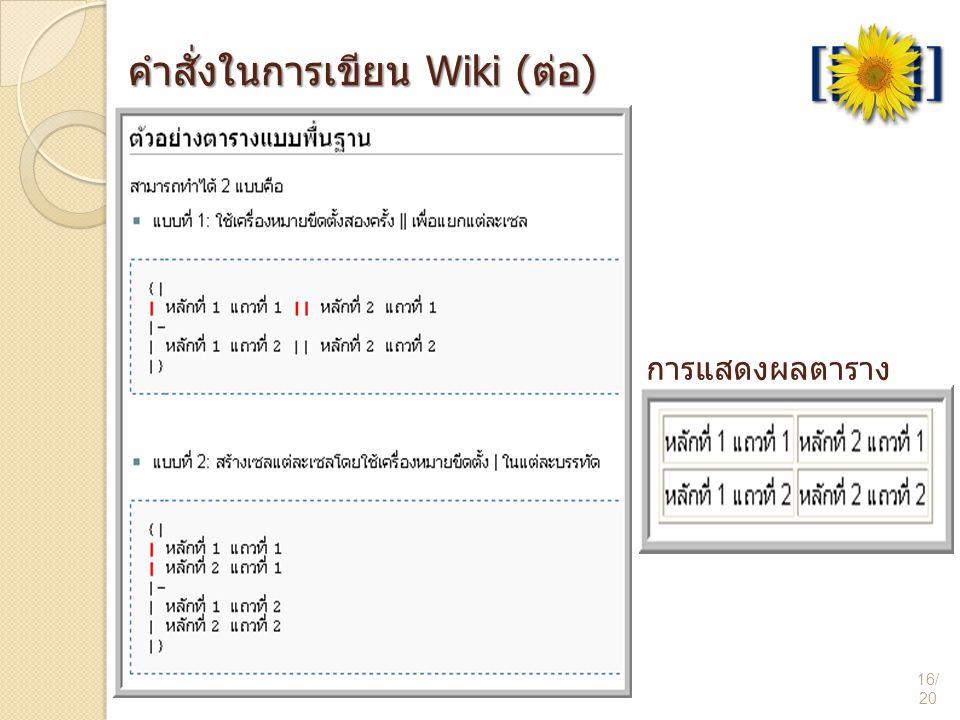 การแสดงผลตาราง 16/ 20 คำสั่งในการเขียน Wiki (ต่อ)