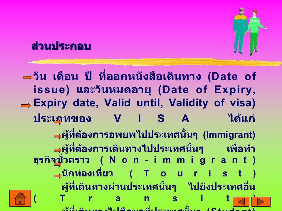 วัน เดือน ปี ที่ออกหนังสือเดินทาง (Date of issue) และวันหมดอายุ (Date of Expiry, Expiry date, Valid until, Validity of visa) ประเภทของ VISA ได้แก่ ผู้ที่ต้องการอพยพไปประเทศนั้นๆ (Immigrant) ผู้ที่ต้องการเดินทางไปประเทศนั้นๆ เพื่อทำ ธุรกิจชั่วคราว (Non-immigrant) นักท่องเที่ยว (Tourist) ผู้ที่เดินทางผ่านประเทศนั้นๆ ไปยังประเทศอื่น (Transit) ผู้ที่เดินทางไปศึกษาที่ประเทศนั้นๆ (Student) ส่วนประกอบ